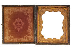 Antique photography case with blank picture frame Royalty Free Stock Photo