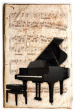 Antique piano. Ancient music sheet, rusted old yellow paper with piano Stock Images