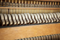 Antique Piano. Piano hammers and strings, antique piano, closeup Royalty Free Stock Photo