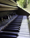 Antique Piano Keys. Depth of field shot of an antique piano Stock Images