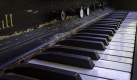 Antique Piano Keys. Depth of field shot of an antique piano Stock Image