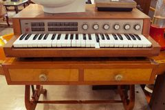Antique piano keys and wood grain Royalty Free Stock Photos