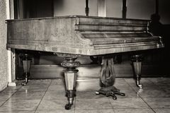Antique Piano. Old Piano. Black whote photo. Antique Piano. Old Piano. Black whote photo royalty free stock photo