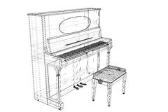 Antique Piano with path royalty free illustration