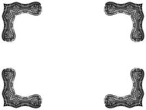 Antique picture corners. A set of four vintage picture corners. Adapted from the pattern on the handle of a Georgian silver spoon. This spoon was made in London Royalty Free Stock Image