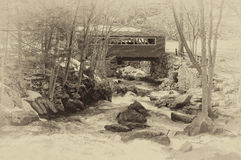 Antique picture of a Covered Bridge at Southford Falls Stock Image