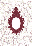 Antique Picture Frame. Old oval picture frame on floral background Stock Photos