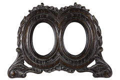 Antique picture frame. Antique wood double oval picture frame with all grunge intact. Early 1900 style. With work path Royalty Free Stock Photography