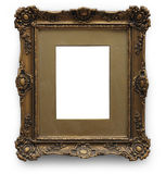 Antique picture frame with clipping path. Golden frame isolated on white background Stock Photo