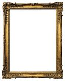 Antique Picture Frame. Gold antique frame in portrait format isolated on white background Stock Photo