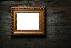 Antique picture frame on old wood texture Stock Image