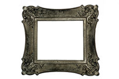 Antique picture frame, square, dark gray color. Antique wood-carved picture frame, square, dark gray color, isolated on white stock photography