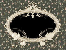 Antique picture frame on the vintage wallpaper Royalty Free Stock Photography