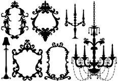 Antique picture frames and chandelier Royalty Free Stock Image