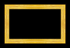 Antique picture golden frame isolated on black background, clipp Stock Image