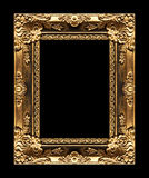 Antique picture golden frame isolated on black background, clipp Stock Photography