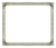 Antique picture gray frame isolated on black background.  Stock Photography