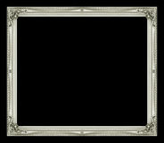 Antique picture gray frame isolated on black background.  Stock Photos