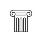 Antique pillar line icon, outline vector sign, linear style pictogram isolated on white Royalty Free Stock Images