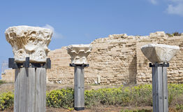 Antique pillars at the ancient city of caesarea stock photo
