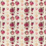 Antique Pink And Red Shabby Chic Rose Repeat Pattern Wallpaper Stock Image