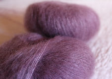 Antique pink balls of mohair Stock Image