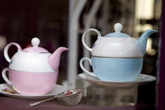Antique pink and blue  teacup Royalty Free Stock Photo