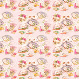 Antique Pink Victorian Fan and Flowers Pattern Background royalty free illustration