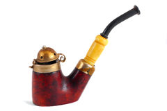 Antique pipe. Antique mahogany & ivory pipe isolated on white Royalty Free Stock Photography