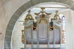 Antique pipe organ in church. Royalty Free Stock Photos