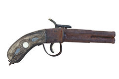 Antique Pistol (striped). Antique pistol with wooden handle (butt) ornamental inlaying (horizontal Stock Photo