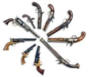 Antique Pistols Collection. Royalty Free Stock Images