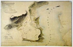 Antique plan of West Point, state of New York. Photo from old reproduction stock image