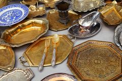 Antique Platters and Trays Stock Image