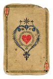 Antique playing card ace of hearts isolated on white Royalty Free Stock Photography