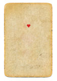 Antique playing card ace of hearts paper background isolated Stock Images