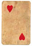 Antique  playing card of hearts paper background isolated on white Royalty Free Stock Photos