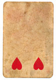 Antique  playing card of hearts used paper background Royalty Free Stock Photography