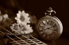 Antique pocket clock Royalty Free Stock Photos