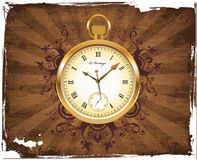 Antique Pocket Watch. With grunge background Stock Image