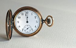 Antique Pocket Watch. Made of brass or gold Stock Photos