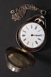 Antique pocket watch in case royalty free stock images