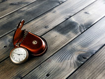 Antique pocket watch with case Stock Photo