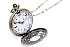 Antique pocket watch with chain. On white background Royalty Free Stock Images