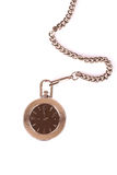 Antique pocket watch on a chain. white background. Stock Photography