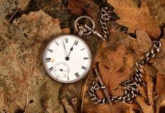 Antique pocket watch on dead leaves. Antique pocket watch and chain on dead leaves Stock Images