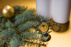 Antique Pocket Watch with Evergreen Branch Royalty Free Stock Images