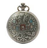 Antique pocket watch isolated. Russian silver antique pocket watch isolated on a white background Stock Photography
