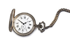 Antique pocket watch. Isolated on white backgroun Stock Photo