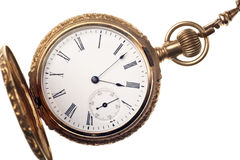Antique pocket watch isolated on white background Stock Photo